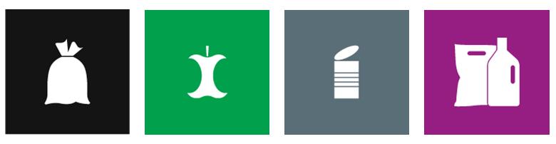 Hos Dansk Affaldsforening kan du gratis downloade piktogrammer, som KL, Dansk Affaldsforening og Miljøstyrelsen har udviklet
