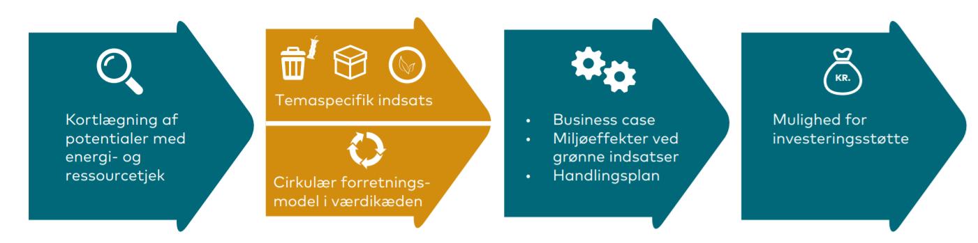 Bæredygtig bundlinje 2.0 består af to spor. Spor 1 er for virksomheder, der vil arbejde med én eller flere temaspecifikke grønne indsatser der kan optimere jeres nuværende forretningsmodel. Spor 2 er for virksomheder, der vil gå et skridt videre og sætte virksomhedens værdikæde under lup