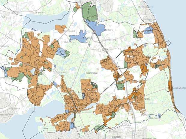 Kortet viser status for kloakering i Rudersdal Kommune