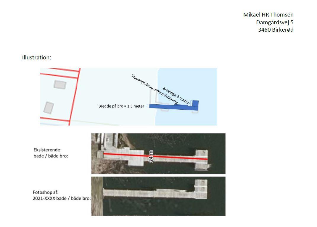 Nuværende og retableret bådebro