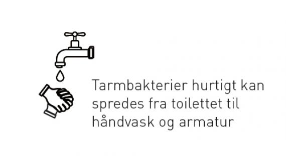 Tarmbakterier kan hurtigt spredes fra toilettet til håndvask og armatur