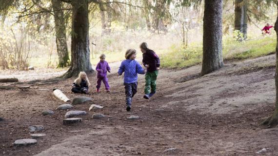 Børn leger i skov