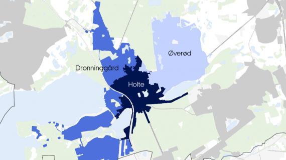 Kort som viser de tre områder i Holte-området hvor der skal ske separatkloakering