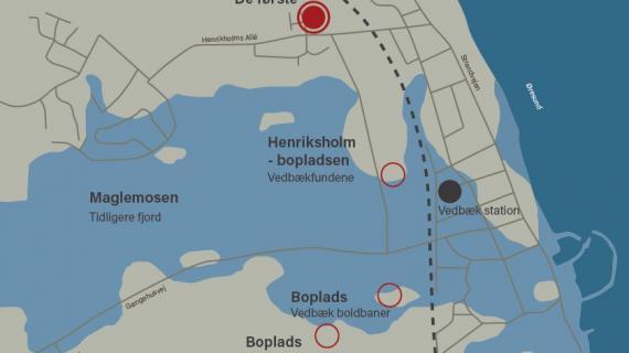 Kort over fjorden ved Vedbæk