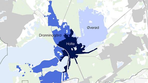 Kort som viser de tre første områder i Holte, der skal separatkloakeres: Holte, Dronninggård og Øverød