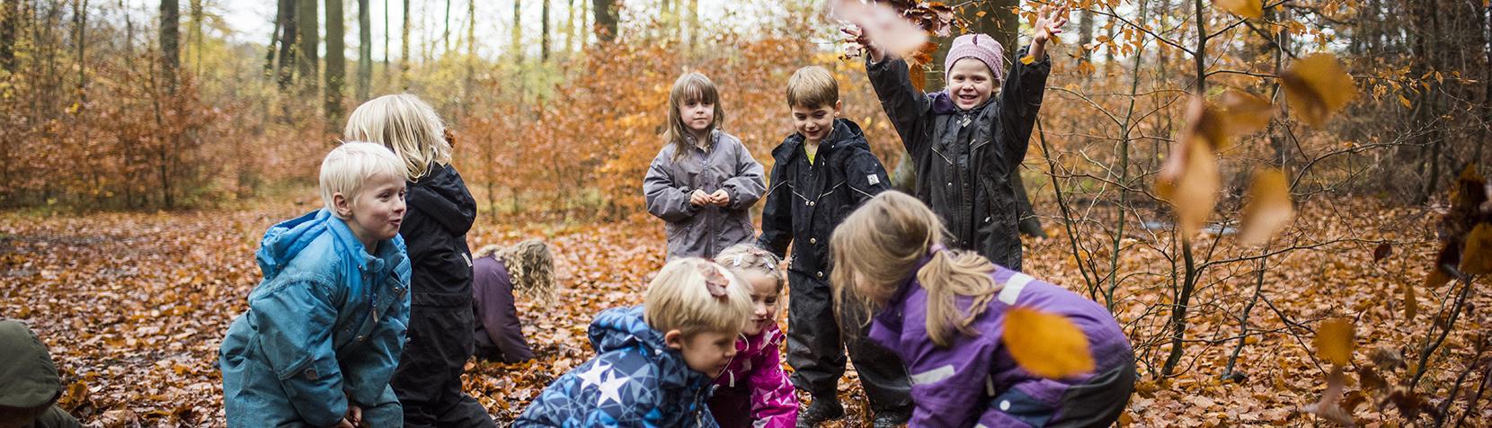 Børn kaster med blade