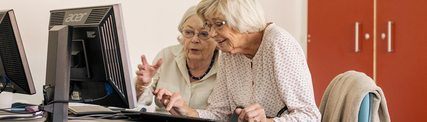 Senior borgere arbejder ved computer