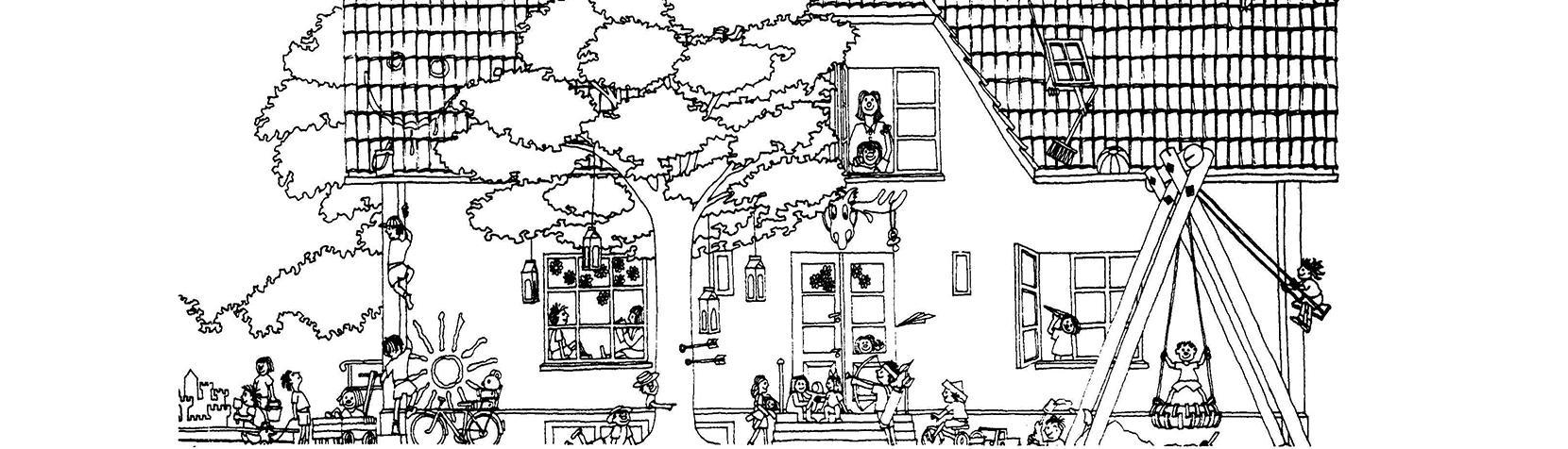 Tegning af Børnehuset Vangebovej