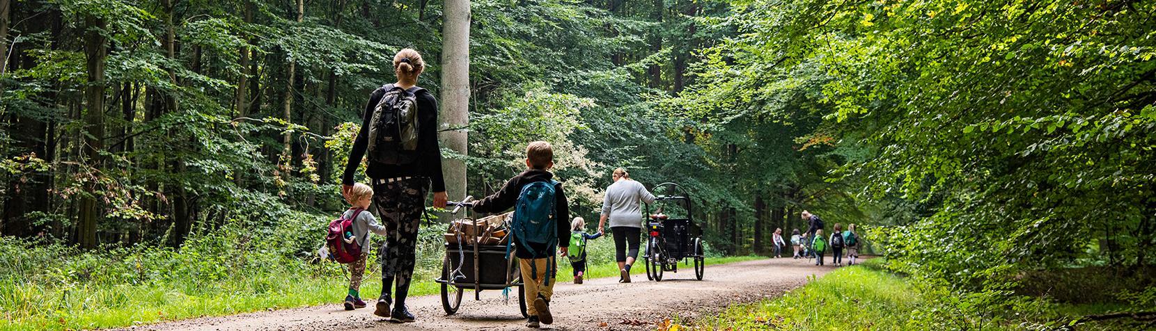 Børn og voksne fra Børnehuset Tudsen på vej i skoven