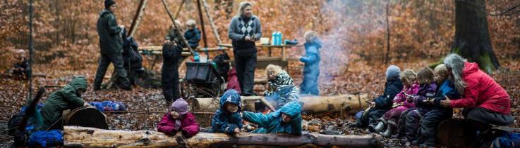 Børn og bål i skoven