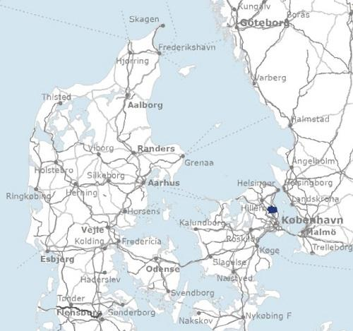 Map of Denmark with The Municipality of Rudersdal marked in blue