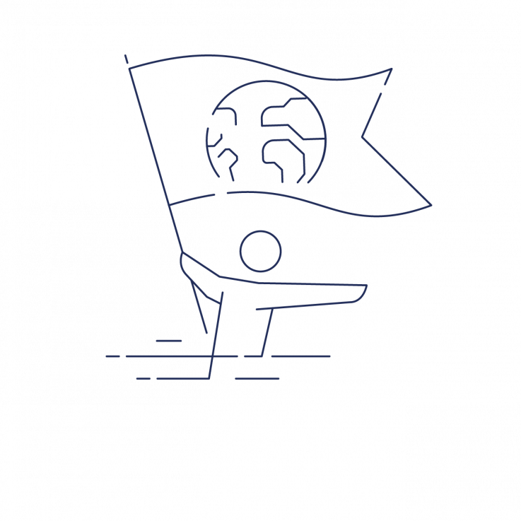 illustration af klimalederskab (Mand med flag)