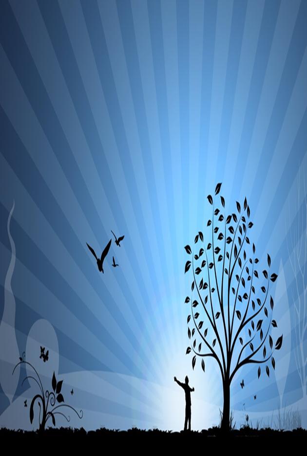 Træ, fugle og menneske på blålilla aftenhimmel