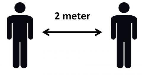 Illustration der viser at man skal holde afstand - 2 meter mellem alle
