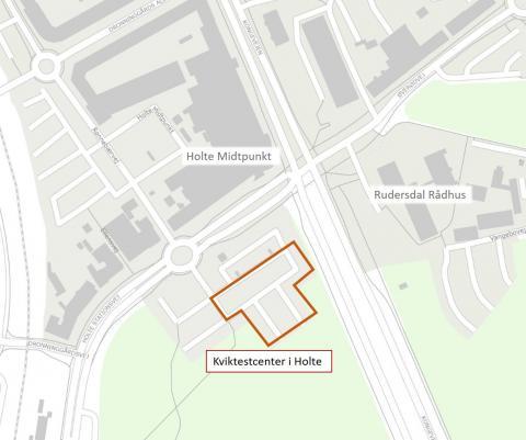 Grafisk kort der viser Kviktestcenter ved Holte Midtpunkt